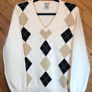 Women's Izod Argyle Golf Sweater, Cream, Size XL